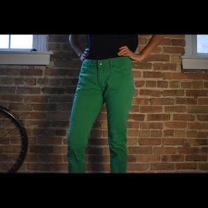 Straight green jeans